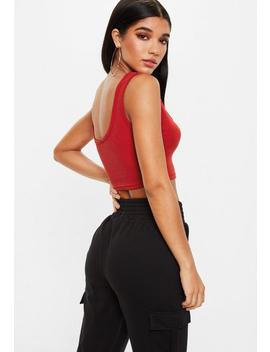 Red Button Front Ribbed Bralet by Missguided