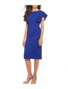 Sonya Ruffle Sleeve Dress by Generic