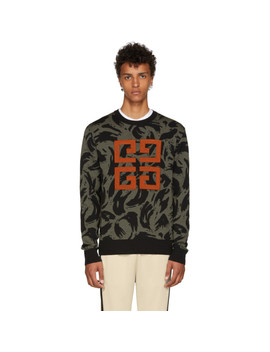 Khaki & Black Jacquard Big 4 G Sweater by Givenchy