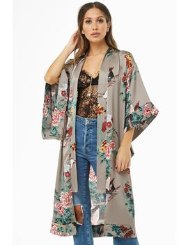 Floral Print Longline Kimono by Forever 21