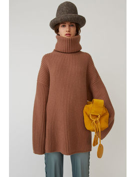 Ribbed Turtleneck Sweater Caramel Brown by Acne Studios