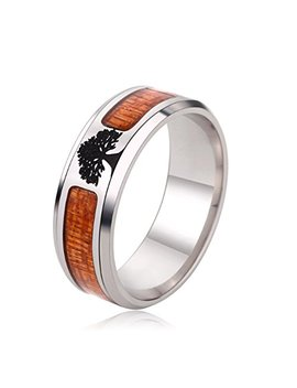 Jajafook Black Flat Top Wedding Ring Living Tree Inlaid Men's Ring, Comfortable Design 6 13 by Jajafook