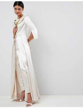 Asos Edition Wedding Satin Off The Shoulder Full Length Jacket And Tapered Pant by Asos Edition