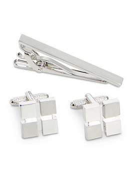 Men's Window Cuff Links & Tie Bar Set by Perry Ellis