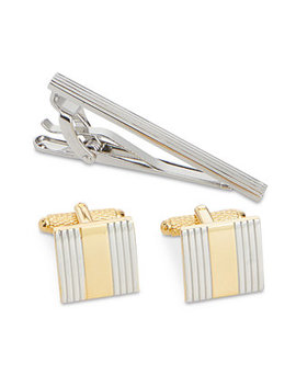 Men's Classic Cuff Links & Tie Bar Set by Perry Ellis