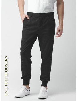 Invictus Men Navy Slim Fit Checked Joggers by Invictus