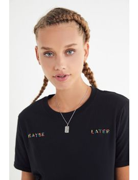 Rainbow Embroidered Phrase Tee by Urban Outfitters