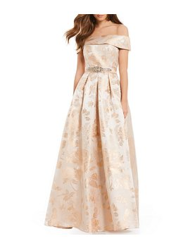 Off The Shoulder Beaded Belt Ballgown by Generic