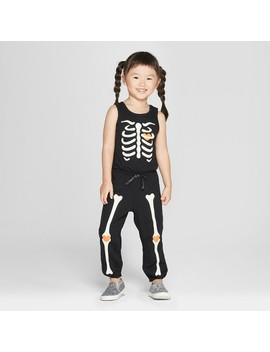 Toddler Girls' Sleeveless Skeleton Bodysuit   Cat & Jack™ Black by Shop All Cat & Jack™