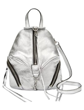 Convertible Mini Julian Silver Leather Backpack by Rebecca Minkoff