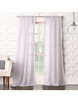 "No. 918 Tayla Crushed Sheer Voile Rod Pocket Curtain Panel, White, 50"" X 63"" by No. 918"