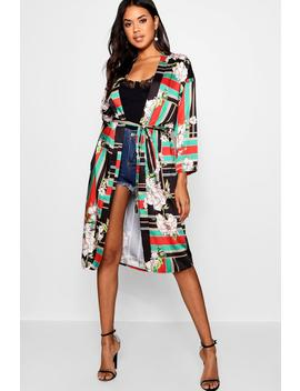 Printed Belted Kimono by Boohoo