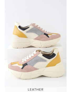 Memory Pink Multi Leather Sneakers by Lulu's
