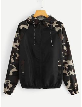 Contrast Camo Panel Raglan Sleeve Jacket by Sheinside