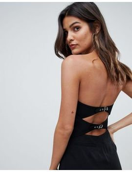 Asos Design Bandeau Sweetheart Jumpsuit With Button & Buckle Detail by Asos Design