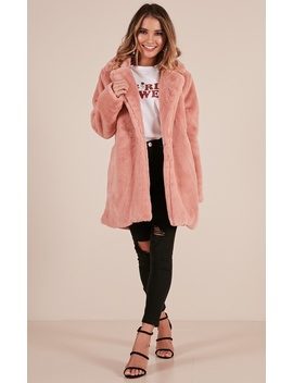 End Of Time Fur Coat In Blush by Showpo Fashion