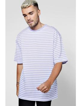 Yarn Dye Stripe Oversized Tee by Boohoo