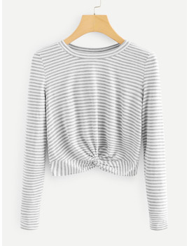 Twist Hem Striped Tee by Sheinside