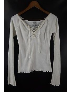Guess Long Sleeve Waffle Thermal Shirt Top White Small Lace Up Ski Snowboard S by Guess