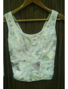 Flora Nikrooz Cream Floral Embroidered Mesh Cami Tank Top Bustier  Sz  Small by Flora Nikrooz
