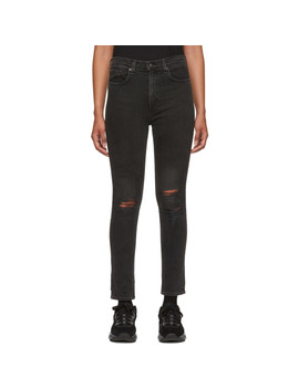 Black Destruction High Rise Ankle Skinny Jeans by Rag & Bone
