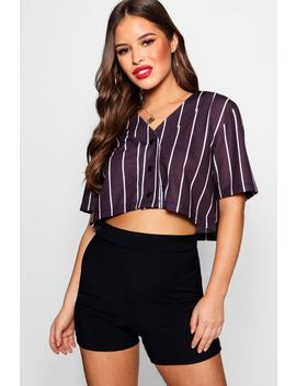 Petite Cropped Baseball T Shirt by Boohoo