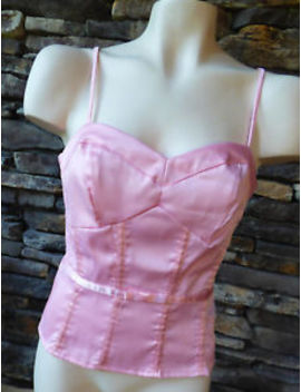Eyeshadow   Size Small Corset Style Pink Satin Bustier Cami W/ Spaghetti Straps by Eyeshadow