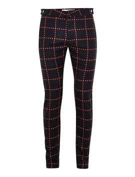 Navy And Red Criss Cross Stretch Skinny Pants by Topman