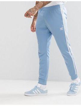 Синие джоггеры скинни с кромкой манжетом Adidas Originals Adicolor Cw1277 by Asos