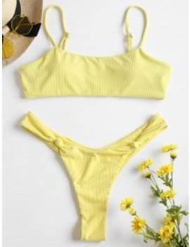 Knot Ribbed Bralette Bikini Set   Cream S by Zaful