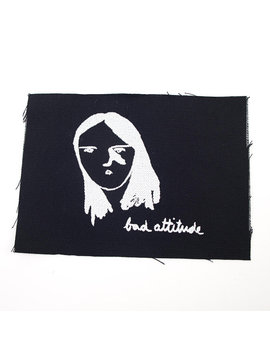 Bad Attitude Girl Patch   Print On Black Cotton Canvas by The Squirrel Leg