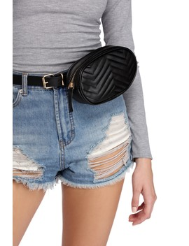 Chevron Quilted Fanny Pack Belt by Windsor