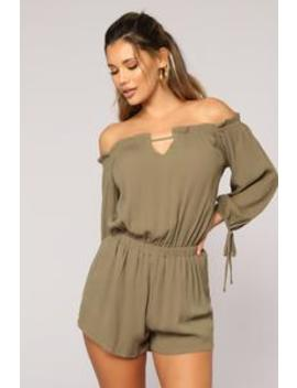 Santa Monica Romper   Olive by Fashion Nova