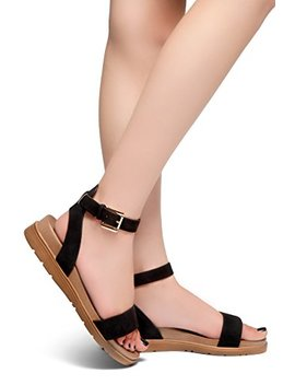 Herstyle Needed Me Women's Fashion Ankle Strap Buckle Low Wedge Platform Heel Comfortable Sandals Shoes by Herstyle