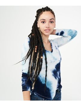 Long Sleeve Seriously Soft Tie Dye V Neck Tee by Aeropostale