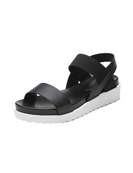 Morecome Fashion Sandals Women Aged Leather Flat Sandals by Morecome