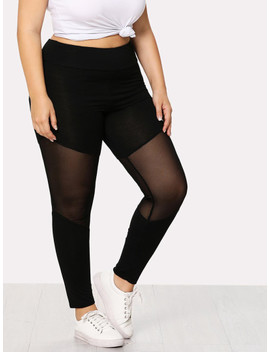 Plus Cut And Sew Mesh Insert Leggings by Shein