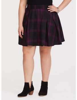 Purple Plaid Flared Twill Skirt by Torrid
