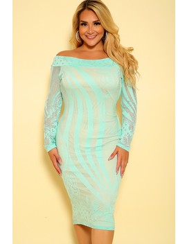 Sexy Mint Beige Netted Long Sleeves Plus Size Party Dress by Ami Clubwear