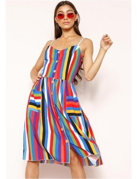 Tammy Multi Stripe Wooden Button Dress by Missy Empire