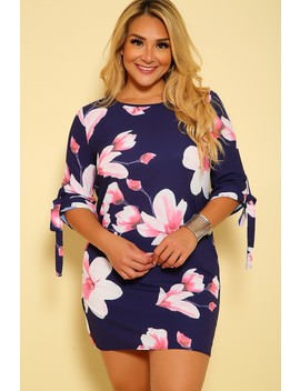 Sexy Navy Floral Print Quarter Sleeves Plus Size Party Dress by Ami Clubwear