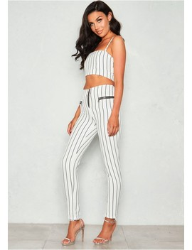 Ruby White Pinstripe Co Ord Set by Missy Empire