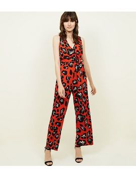 Cameo Rose Red Leopard Print Wrap Jumpsuit by New Look
