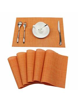 Homcomoda Table Mats Washable Pvc Dining Place Mats Non Slip Heat Resistant Vinyl Placemats Set Of 6 (Orange) by Homcomoda