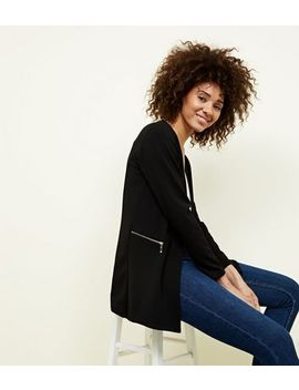 Mela Black Zip Side Blazer by New Look