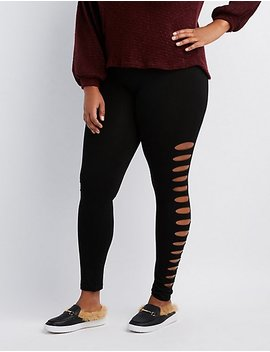 Plus Size Slashed Stretchy Leggings by Charlotte Russe