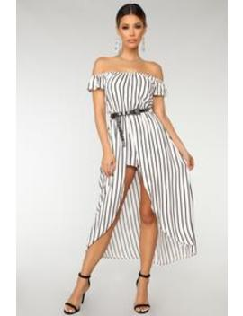 Stripe It Up Maxi Romper   White/Black by Fashion Nova