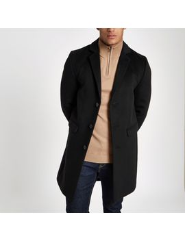 Black Button Up Overcoat by River Island