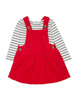 Red Cord Pinny And T Shirt Set by Mothercare