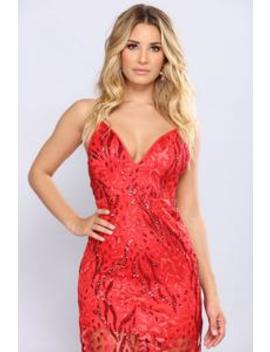 Sequin Me Out Dress   Red by Fashion Nova